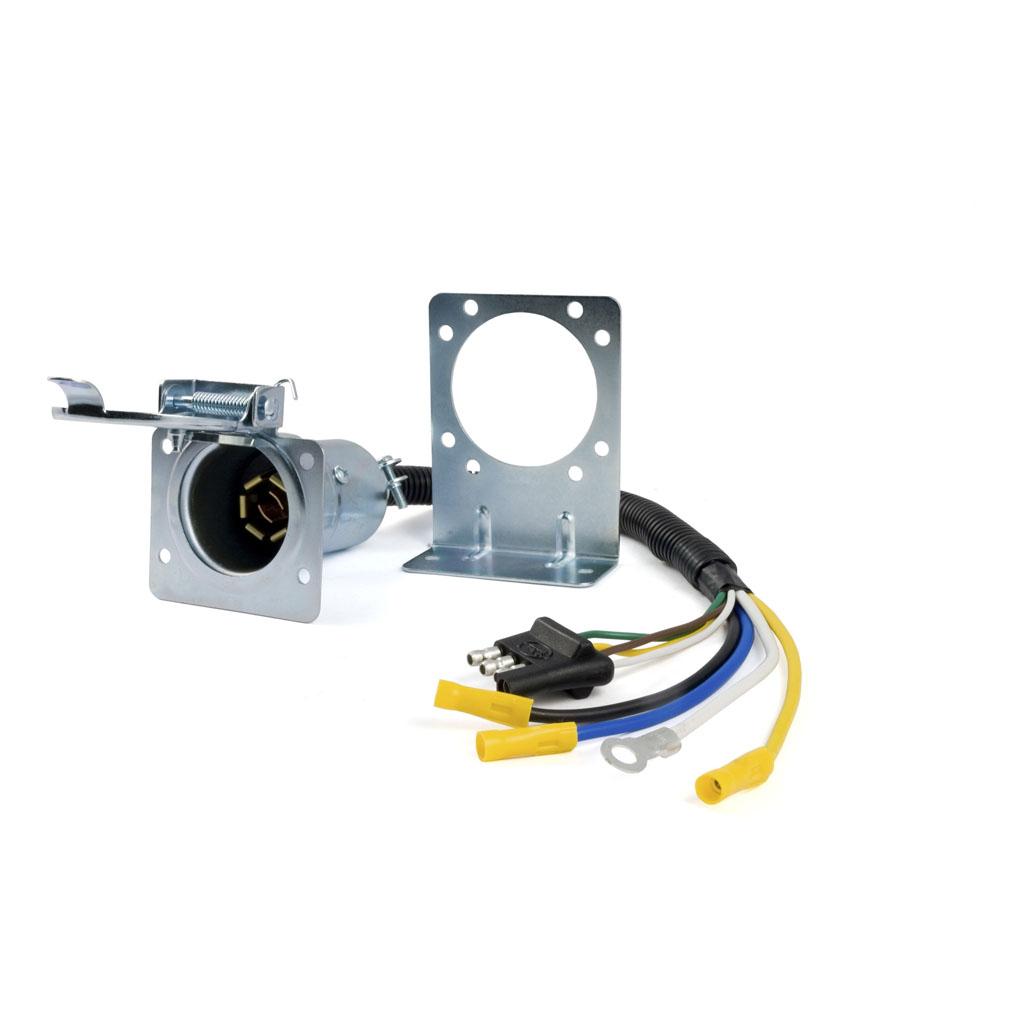 Curtr Metal 7way Round Rv Blade Wiring Connector Trailer End